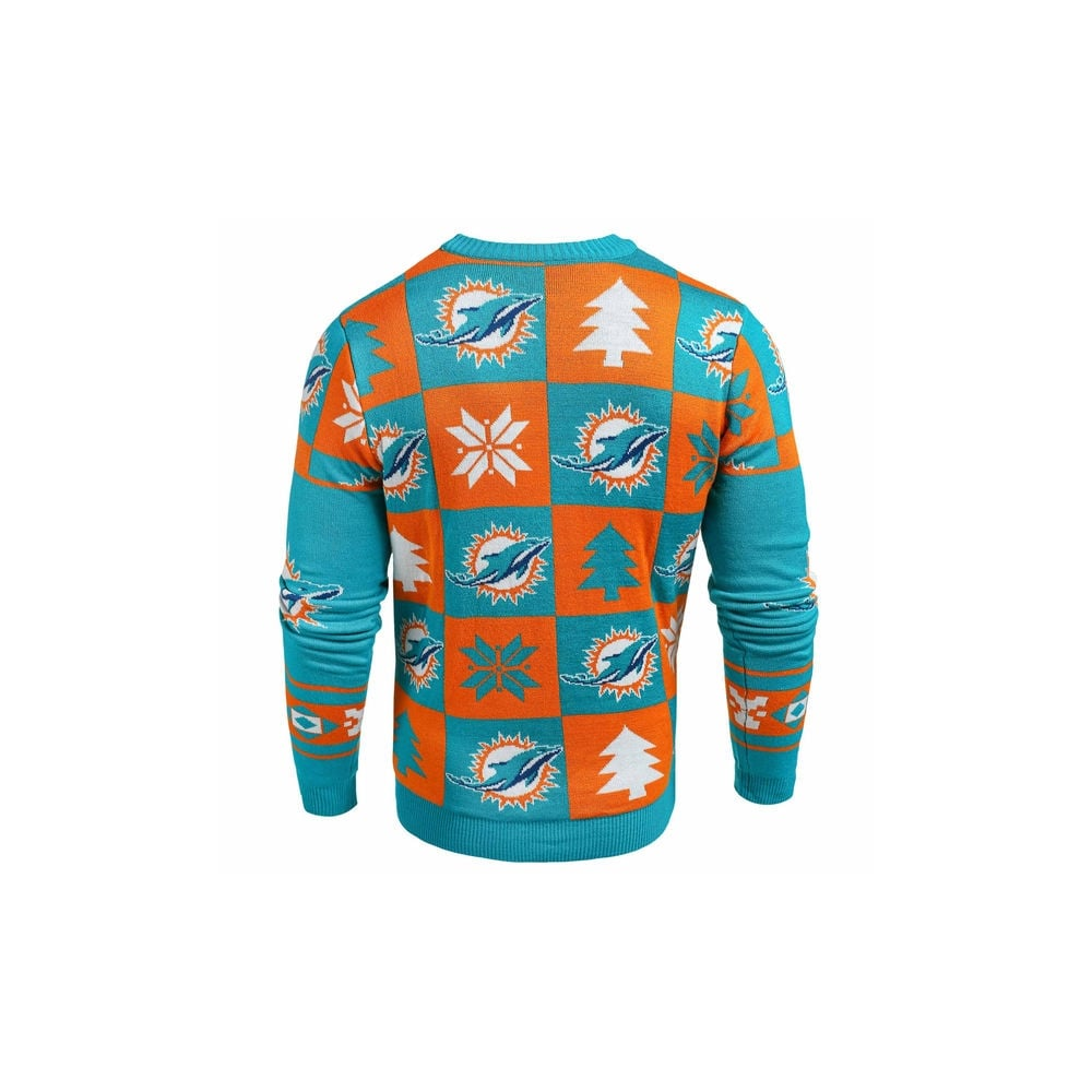 Forever Collectibles Nfl Miami Dolphins Patches Ugly Sweater