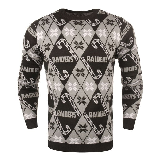 Forever Collectibles Nfl Oakland Raiders Candy Cane Ugly Sweater
